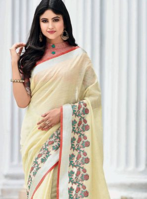 Off White Weaving Party Classic Saree