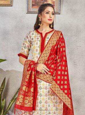 Off White Weaving Salwar Suit