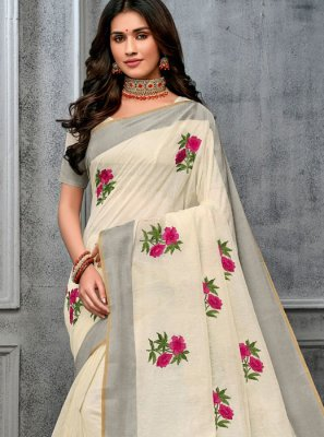 Off White Woven Party Trendy Saree
