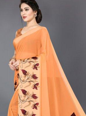 Orange Abstract Print Casual Saree