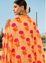 Orange Abstract Print Cotton Printed Saree
