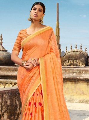 Orange Abstract Print Cotton Printed Saree