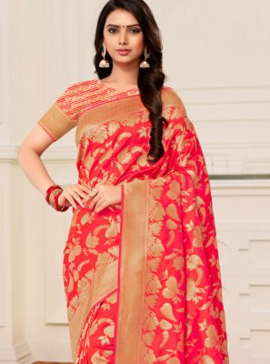Orange and Peach Banarasi Silk Half N Half  Saree