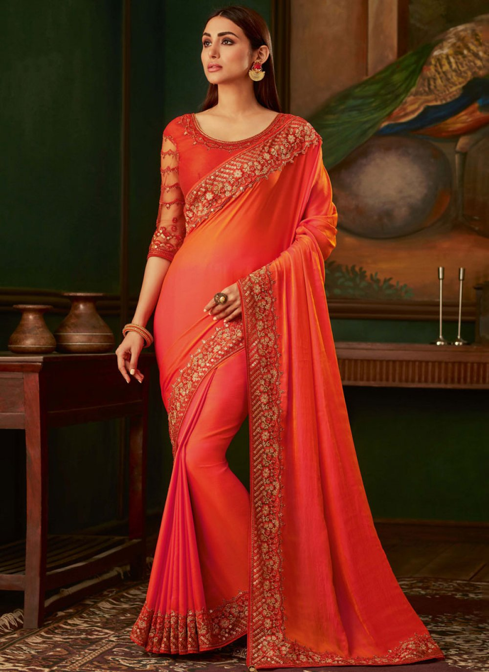 Orange and Peach Embroidered Silk Designer Traditional Saree