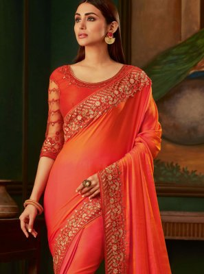 Orange and Peach Embroidered Silk Designer Traditional Saree