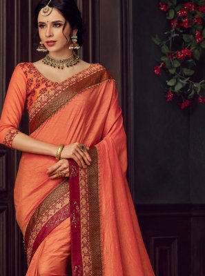 Orange and Peach Reception Poly Silk Classic Designer Saree