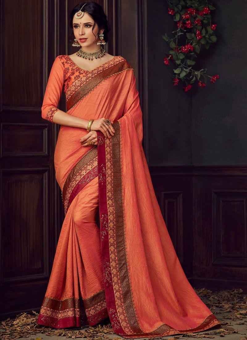 Orange and Peach Reception Poly Silk Classic Designer Saree
