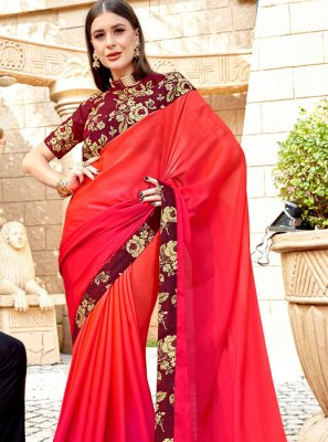 Orange and Pink Color Traditional Saree