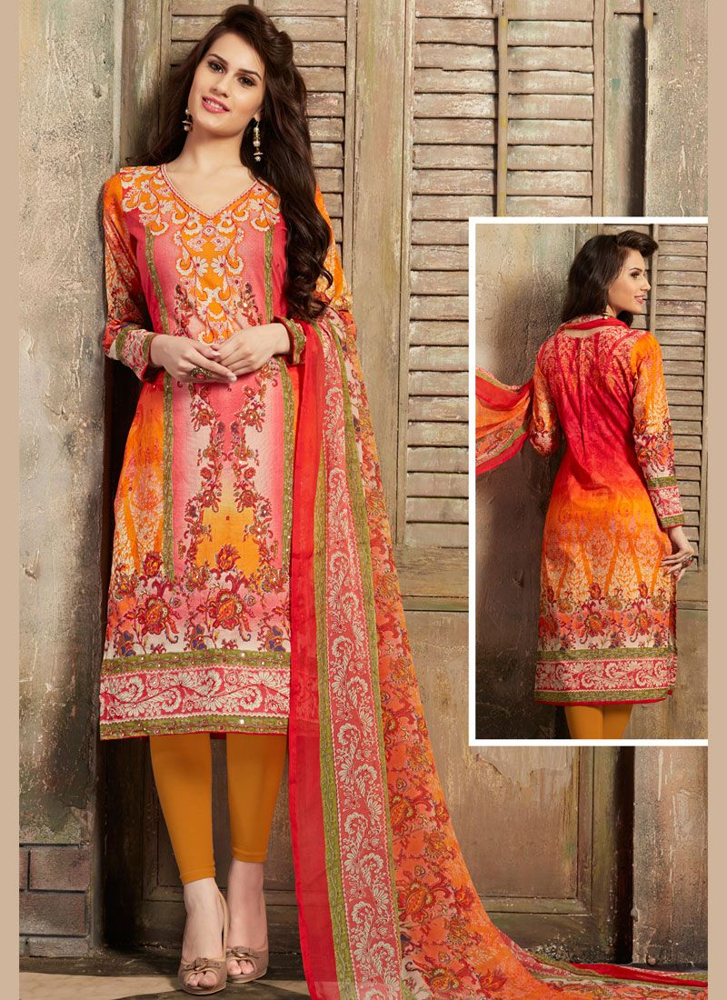Orange and Pink Thread Work Cotton Churidar Suit