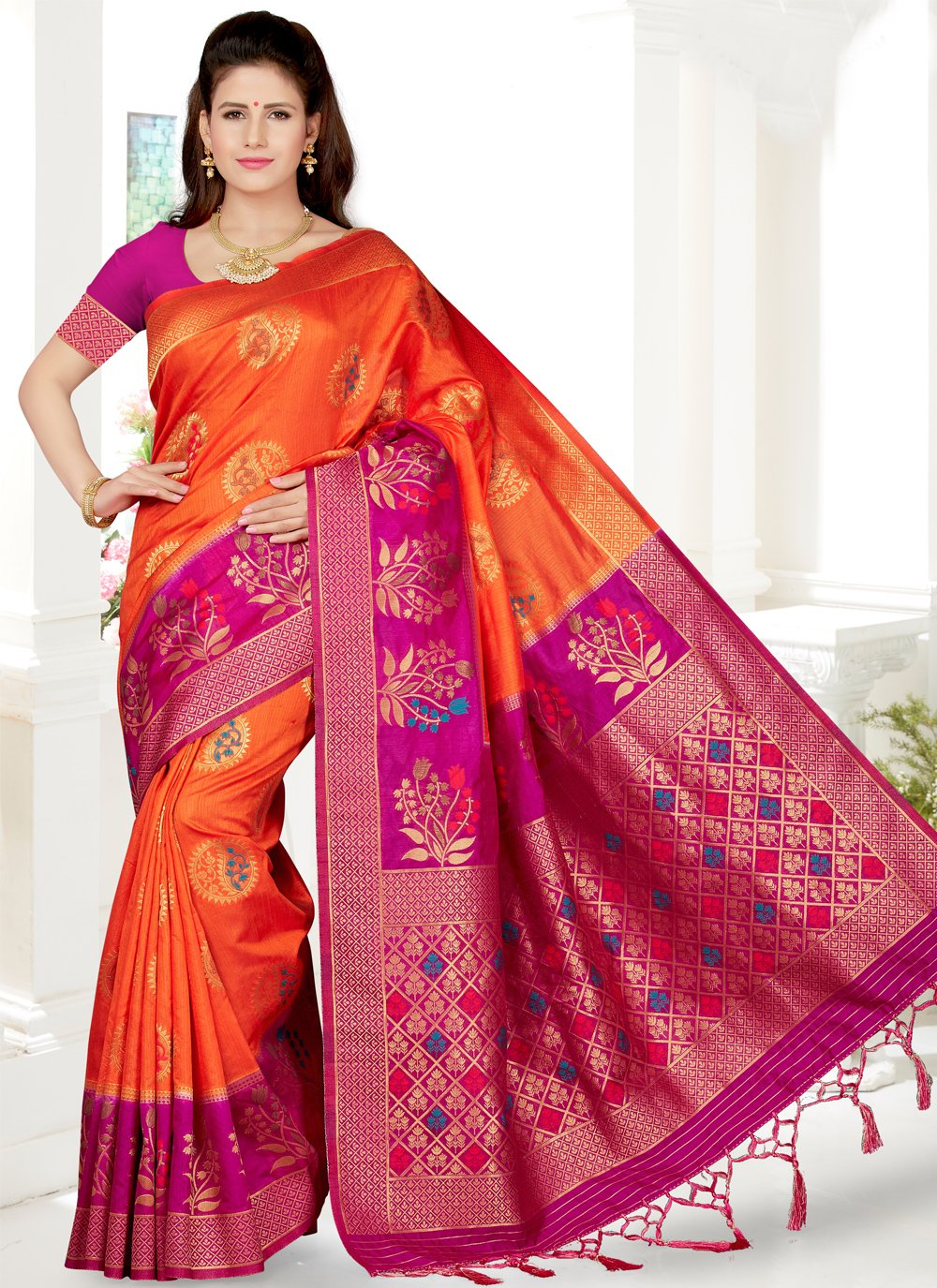 Orange and Rani Art Silk Weaving Traditional Saree