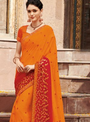 Orange and Red Ceremonial Shaded Saree
