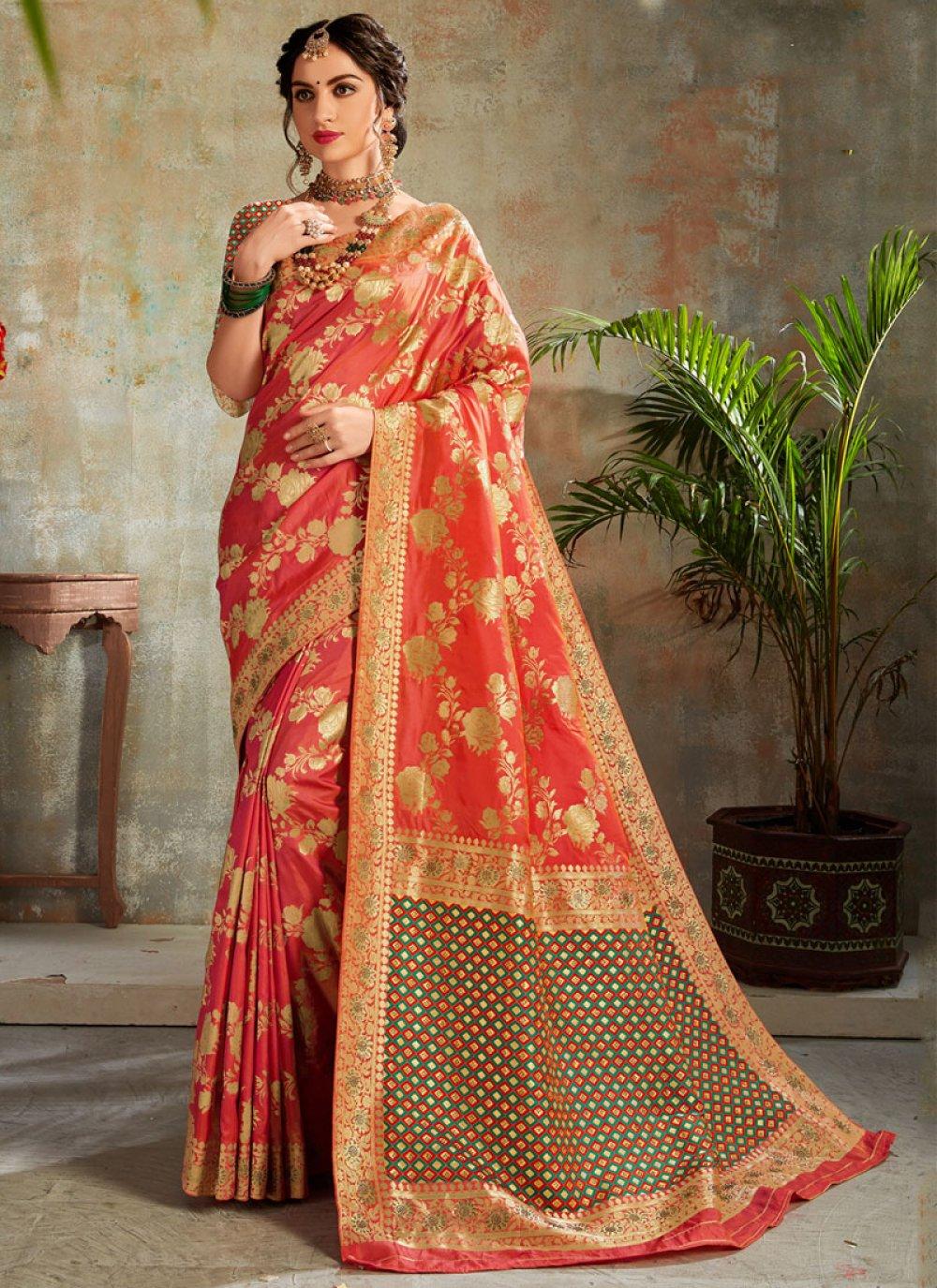 Orange and Red Silk Trendy Saree