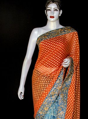 Orange and Turquoise Reception Viscose Designer Saree
