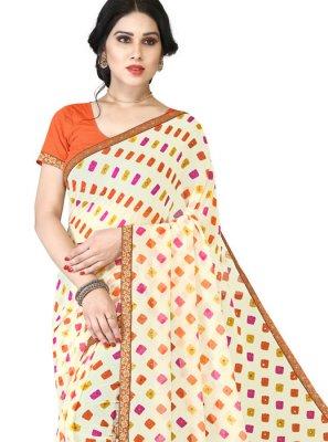Orange and White Art Silk Lace Casual Saree