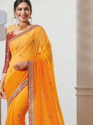 Orange and Yellow Color Classic Saree