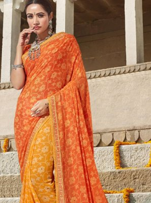 Orange and Yellow Georgette Designer Saree