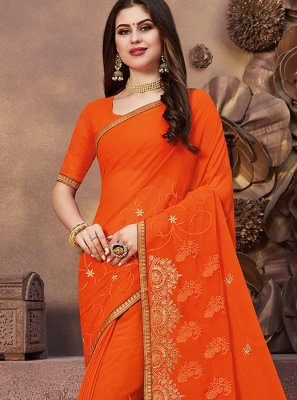 Orange Art Banarasi Silk Embroidered Designer Saree