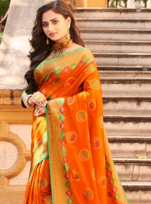 Orange Art Banarasi Silk Reception Classic Saree