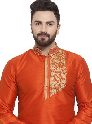 Orange Art Dupion Silk Ceremonial Kurta