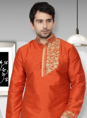 Orange Art Dupion Silk Wedding Kurta