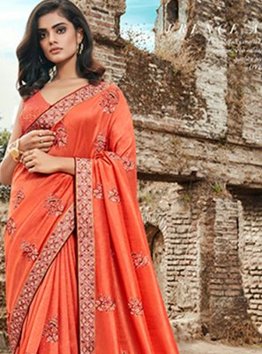 Orange Art Silk Embroidered Classic Designer Saree