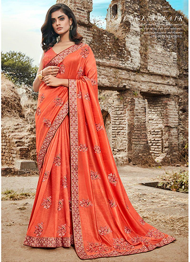 Orange Art Silk Embroidered Classic Designer Saree