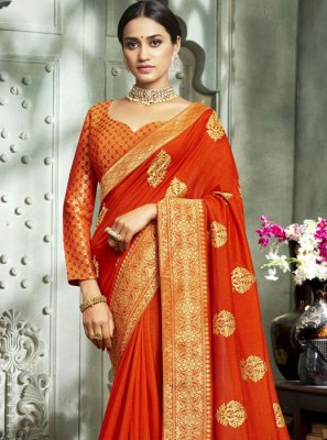 Orange Art Silk Festival Classic Saree