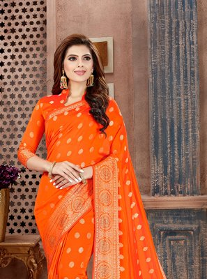 Orange Art Silk Weaving Classic Saree