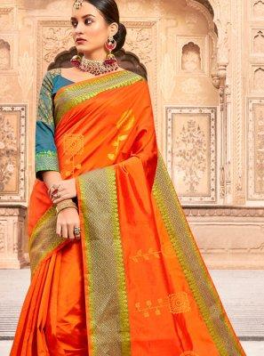 Orange Art Silk Woven Traditional Designer Saree
