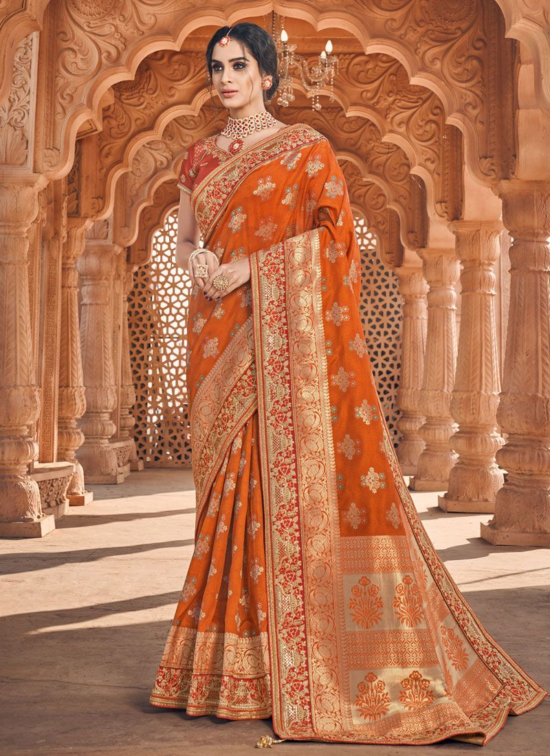 Orange Banarasi Silk Classic Saree