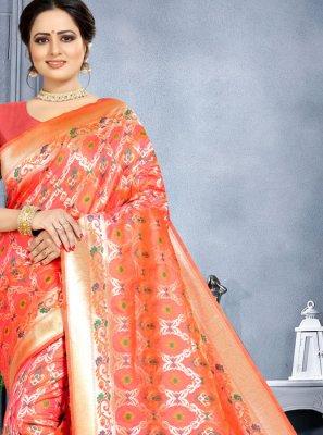Orange Banarasi Silk Classic Saree