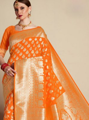 Orange Banarasi Silk Designer Saree