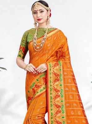 Orange Banarasi Silk Festival Contemporary Saree