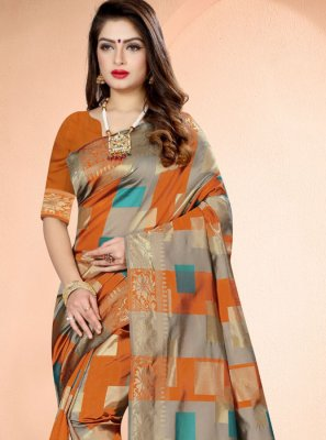 Orange Banarasi Silk Weaving Designer Saree