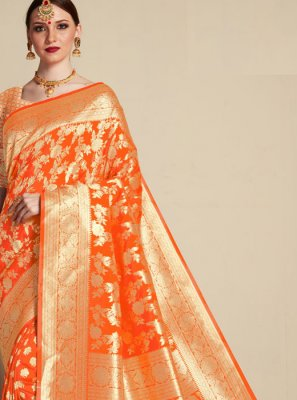 Orange Banarasi Silk Wedding Classic Saree