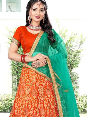 Orange Banglori Silk Designer Lehenga Choli