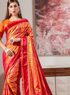Orange Border Casual Classic Saree