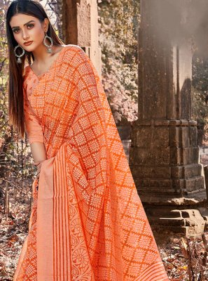 Orange Brasso Casual Saree