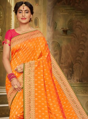 Orange Brocade Classic Saree