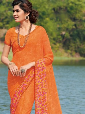 Orange Casual Classic Saree