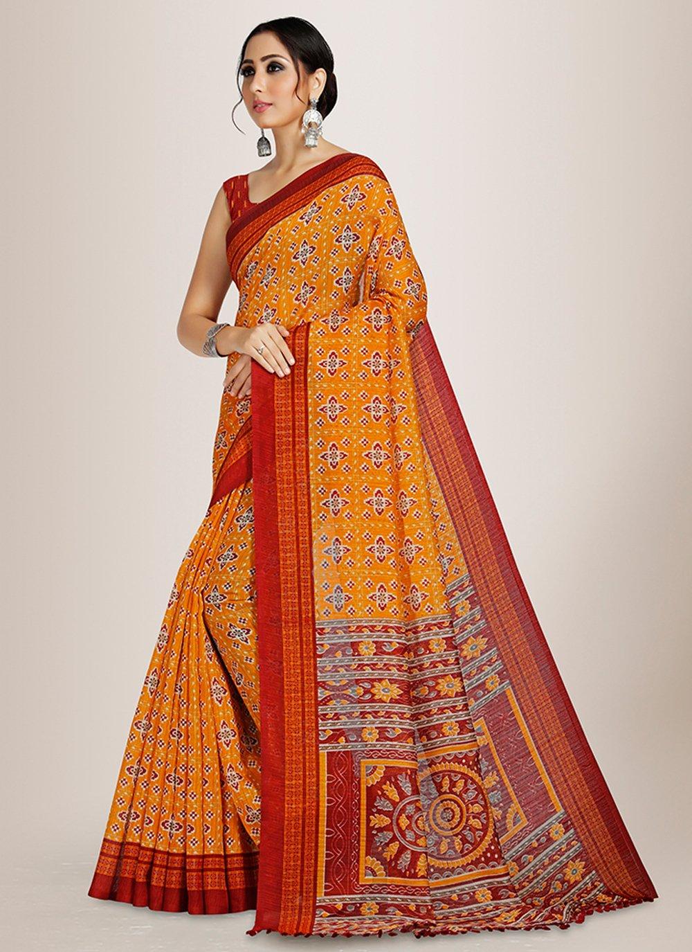 Orange Casual Saree