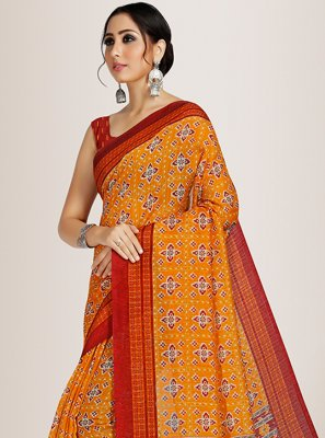 Orange Casual Saree