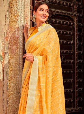 Orange Casual Trendy Saree