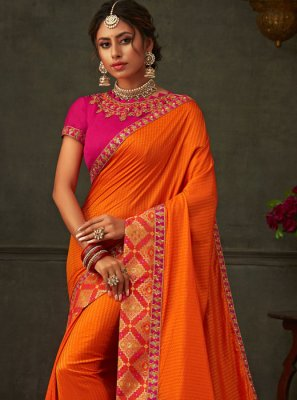 Orange Ceremonial Classic Designer Saree