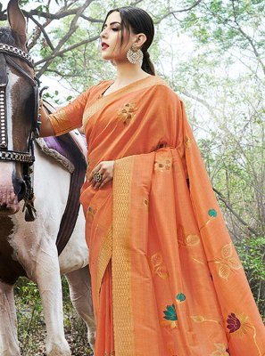 Orange Ceremonial Contemporary Saree