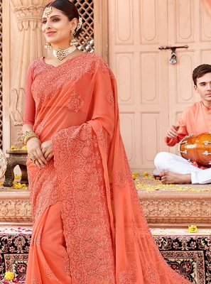 Orange Ceremonial Designer Saree