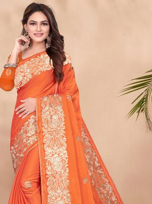 Orange Ceremonial Designer Saree