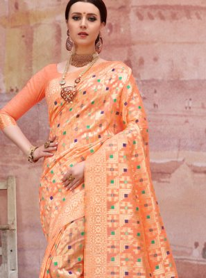Orange Ceremonial Designer Traditional Saree