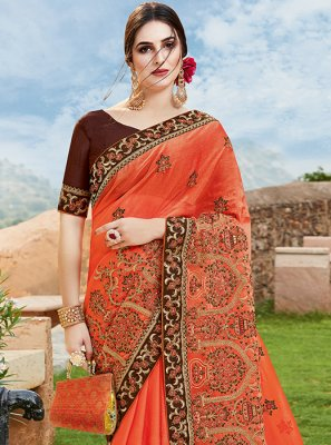 Orange Chiffon Satin Party Traditional Designer Saree