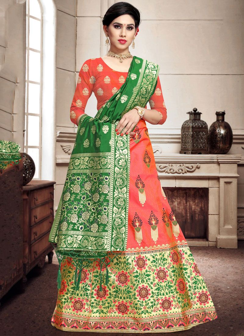 Orange Color A Line Lehenga Choli
